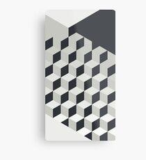 Gradient Cubes – Ebony Black / Warm Gray Metal Print