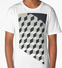 Gradient Cubes – Ebony Black / Warm Gray Long T-Shirt