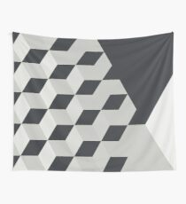 Gradient Cubes – Ebony Black / Warm Gray Wall Tapestry