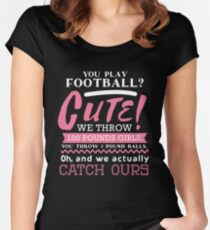 Football Is Cute  Women's Fitted Scoop T-Shirt