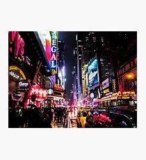 Lámina fotográfica Noche de la ciudad de Nueva York
