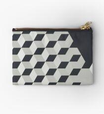 Gradient Cubes – Ebony Black / Warm Gray Studio Pouch