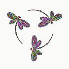 Neon Trinity Dragonflies by lyndseyart