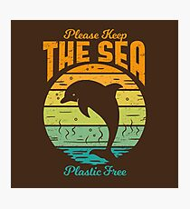 Please Keep the Sea Plastic Free - Retro Dolphin Photographic Print