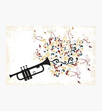 Black trumpet with colorful swirls and floral elements Photographic Print