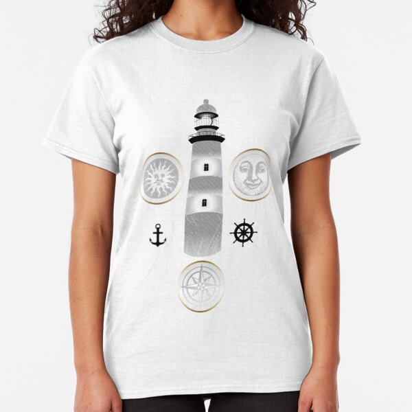 Nautical illustration of sun, moon and lighthouse in retro stamp design Classic T-Shirt