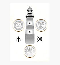 Nautical illustration of sun, moon and lighthouse in retro stamp design Photographic Print