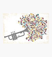Retro stamp illustration with colorful music explosion Photographic Print