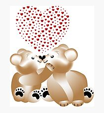 Heart work with teddies in love Photographic Print