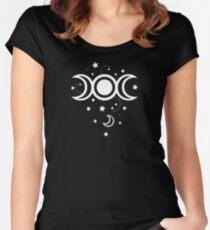 Triple Moon mit Sternen.  Tailliertes Rundhals-Shirt