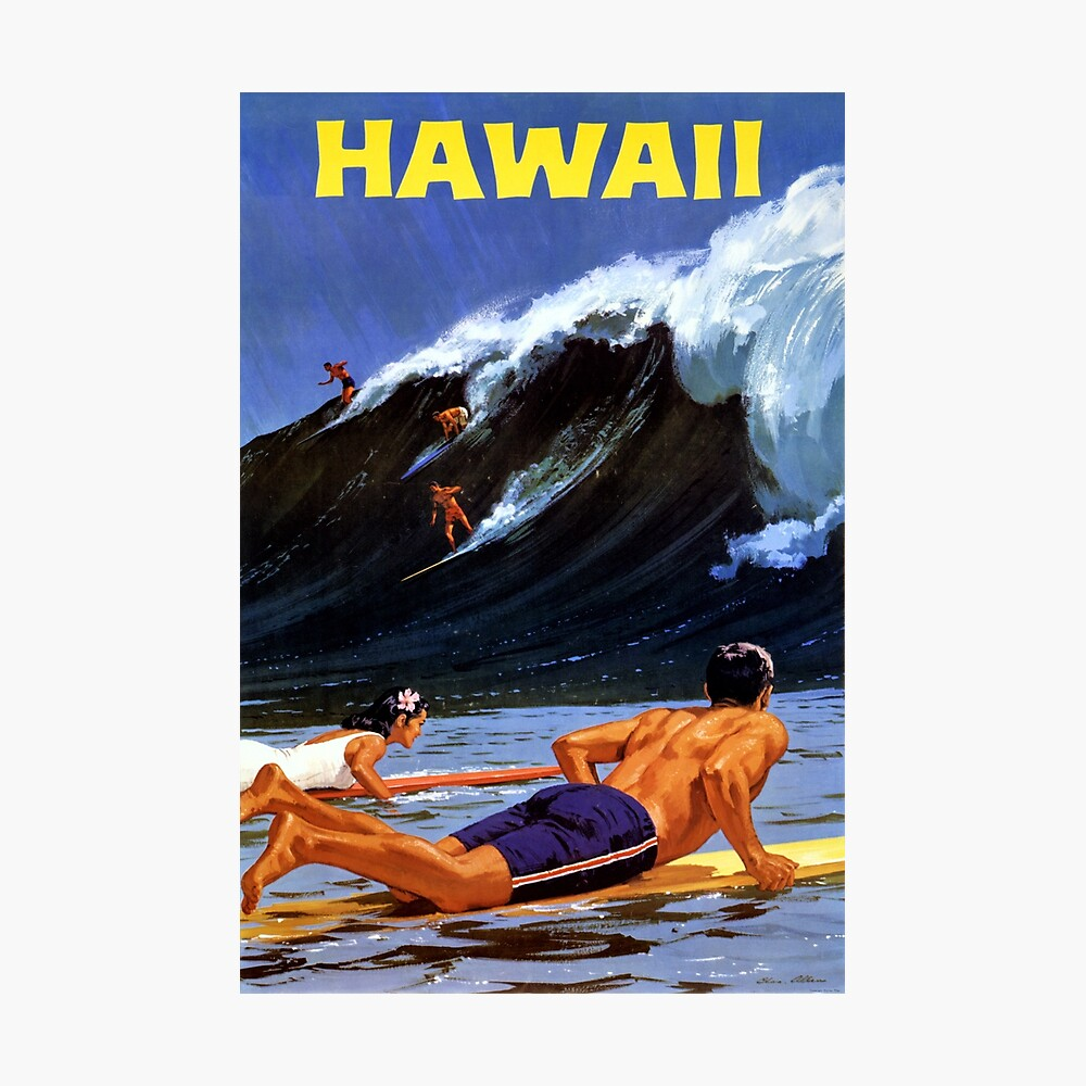 Hawaii Vintage Travel Poster Restored Photographic Print