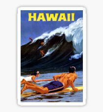 Hawaii Vintage Travel Poster Restored Sticker