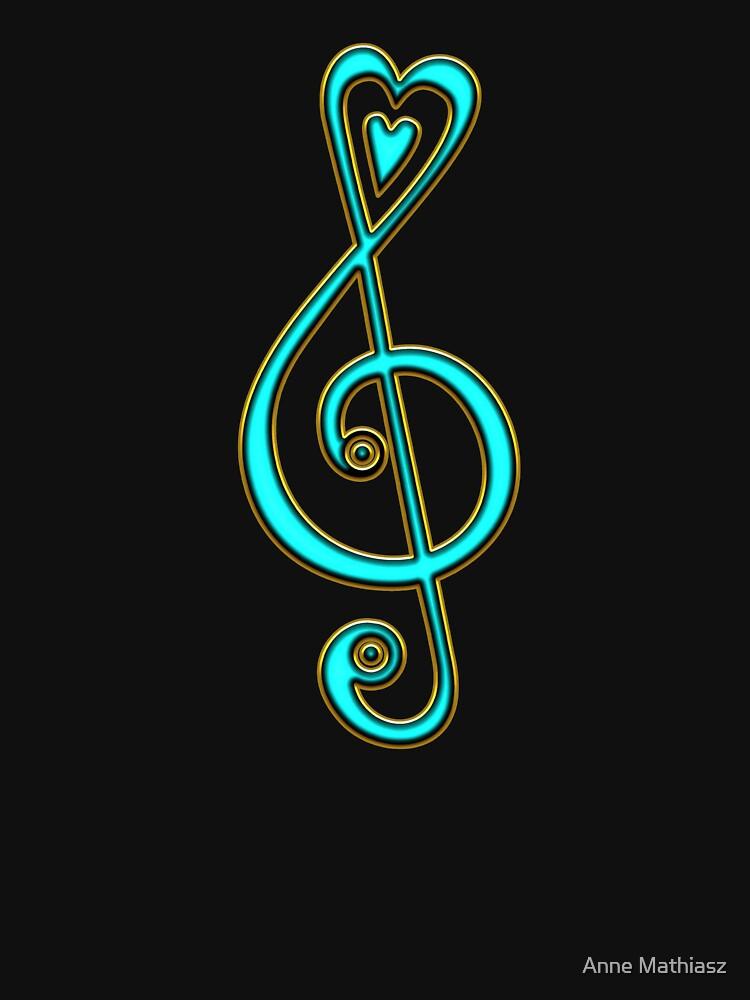Notenschlüssel, Violinschlüssel, Musik Herz, Noten, Musiker, Festival, Chor, Band von boom-art