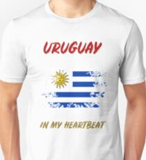 89ee6479b URUGUAY IN MY HEARTBEAT - World Cup Team Flag Soccer 2018 Unisex T-Shirt