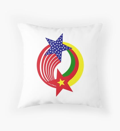 Cameroon American Multinational Patriot Flag Series Throw Pillow