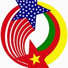 Cameroon American Multinational Patriot Flag Series by Carbon-Fibre Media