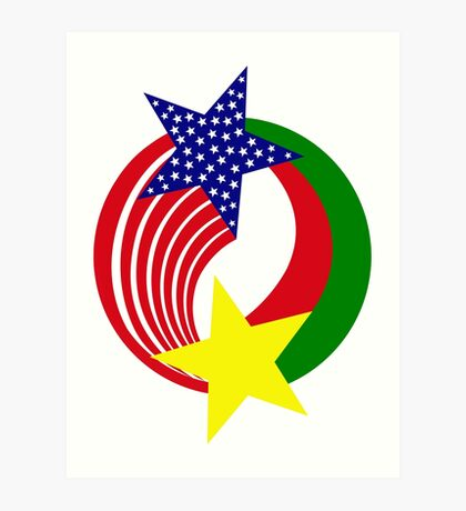 Burkina Faso American Multinational Patriot Flag Art Print