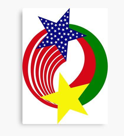 Burkina Faso American Multinational Patriot Flag Canvas Print