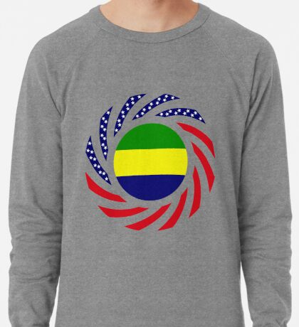 Gabonese American Multinational Patriot Flag Series Lightweight Sweatshirt