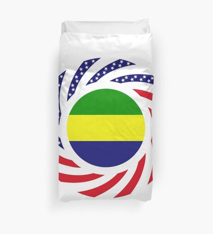 Gabonese American Multinational Patriot Flag Series Duvet Cover