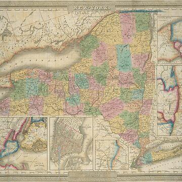 Vintage Map of New York (1835) by BravuraMedia