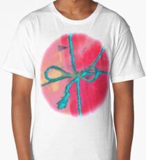 Atractivo azul eléctrico busca lazo rosa fluorescente... Camiseta larga