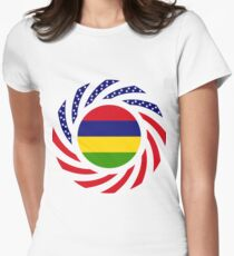 Mauritius American Multinational Patriot Flag Series Women's Fitted T-Shirt