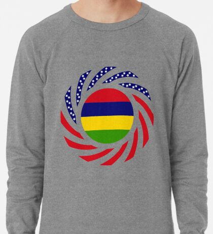 Mauritian American Multinational Patriot Flag Series Lightweight Sweatshirt