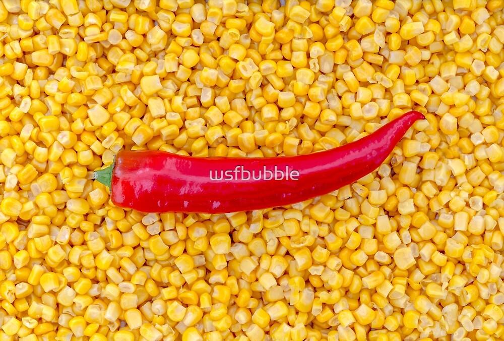Paprika on corn as a background by wsfbubble