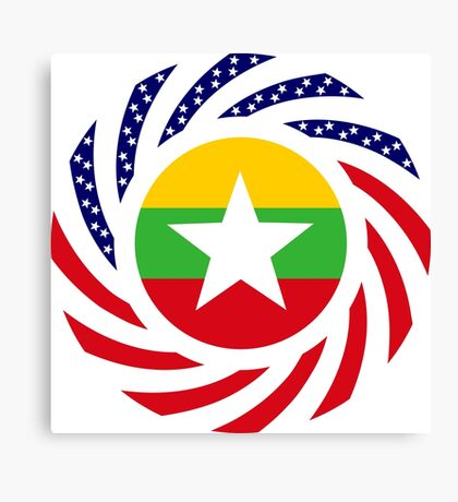 Myanmar American Multinational Patriot Flag Series Canvas Print
