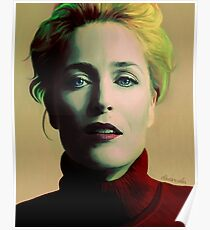 Gillian Anderson oil color portrait Poster