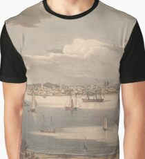 Vintage Pictorial Map of Gloucester MA (1836) Graphic T-Shirt