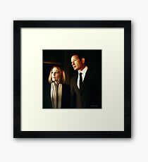 Mulder and Scully - oil color painting Framed Print