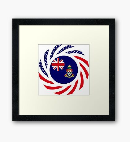 Caymanian American Multinational Patriot Flag Series Framed Print