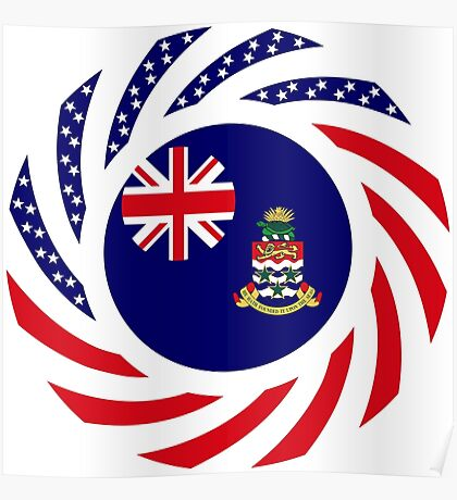 Caymanian American Multinational Patriot Flag Series Poster
