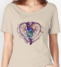 """Anatomical Kind """"Earth Heart"""" Medical Circulatory Get Well Kindness Women's Relaxed Fit T-Shirt"""