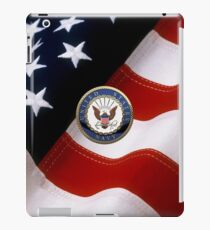 U.S. Navy - USN Emblem over American Flag iPad Case/Skin