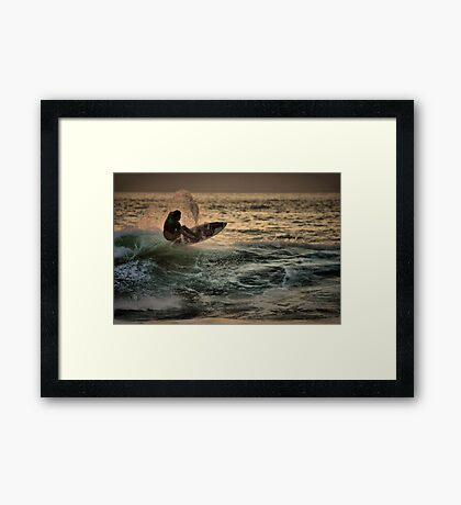 Evening Surfing Framed Print