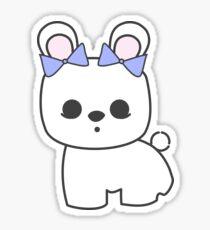 Bette Blanc de Hotot Bunny with Blue Bows: Grey Outline Sticker
