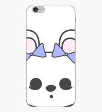 Bette Blanc de Hotot Bunny with Blue Bows: Grey Outline iPhone Case