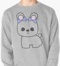 Bette Blanc de Hotot Bunny with Blue Bows: Grey Outline Pullover