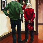 Sharing Views - art museum realistic original painting by LindaAppleArt