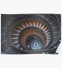 Stair, swirl, museum stair, museum, engraving,  Poster