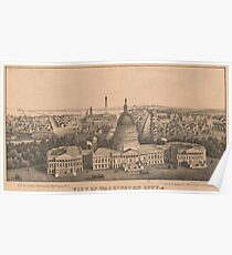 Vintage Pictorial Map of Washington DC (1864) Poster