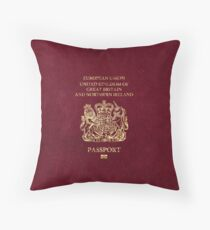 United Kingdom Passport Vintage Throw Pillow