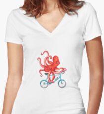 Radfahren Octopus Tailliertes T-Shirt mit V-Ausschnitt