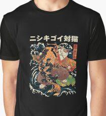 Koi Fish And Japanese Cat Graphic T-Shirt