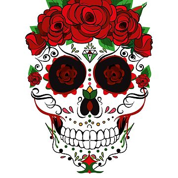 Floral Sugar Skull - Sugar Skull With Roses  by amorhka