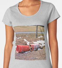 Abandon Orange Construction Barrels laying on the Ground Women's Premium T-Shirt