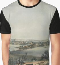 Vintage Pictorial Map of New Haven CT (1849) Graphic T-Shirt